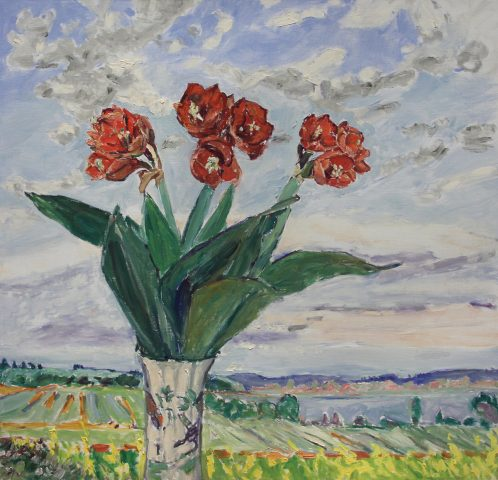 Dorothy Knowles Red Flowers and Landscape